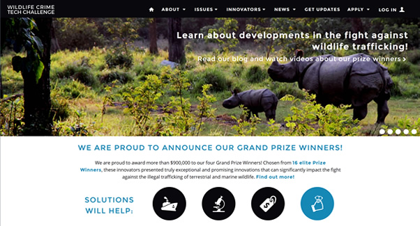 Screenshot of Wildlife Crime Tech Challenge site